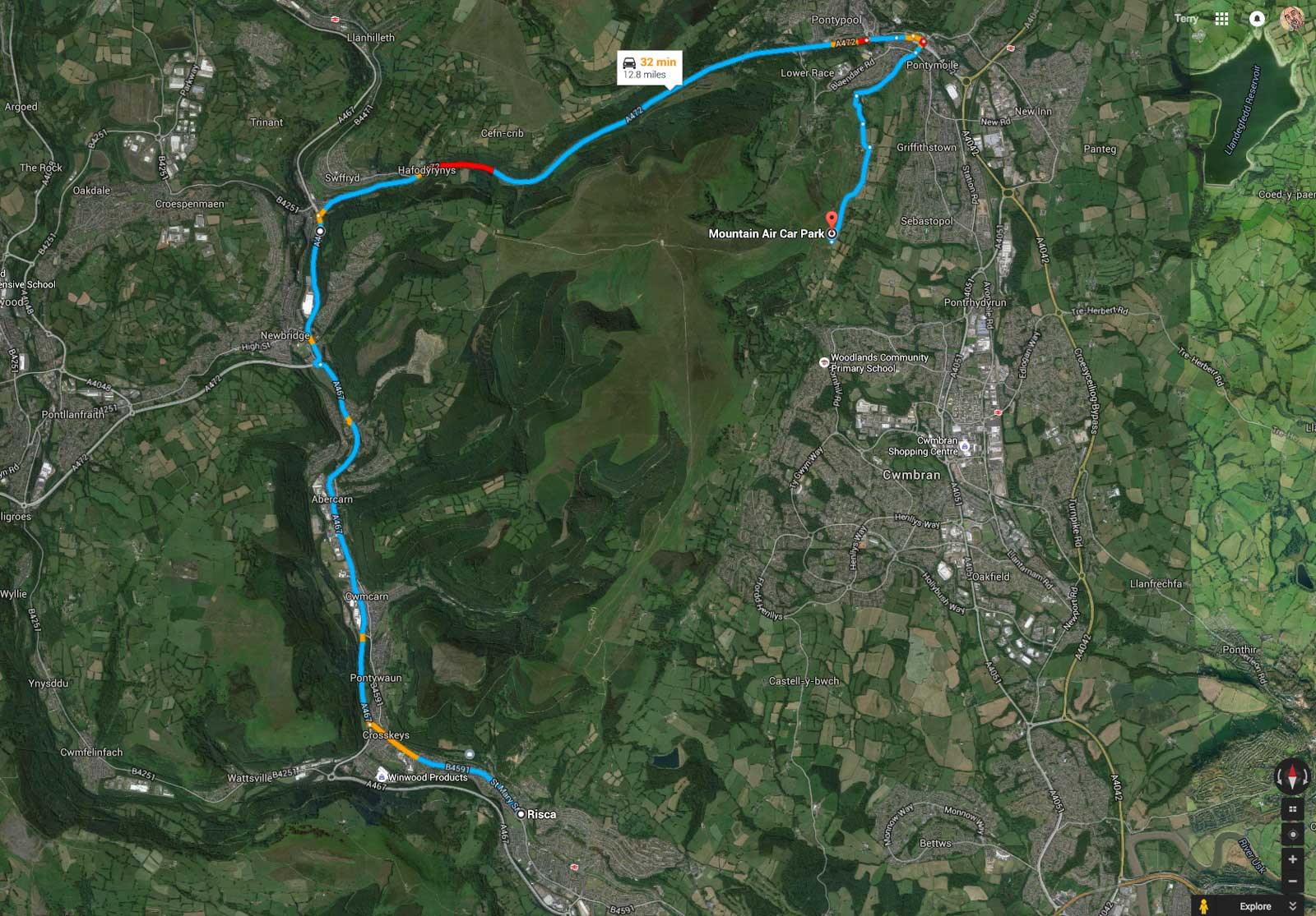 The route to Mountain Air via Crumlin and Pontypool